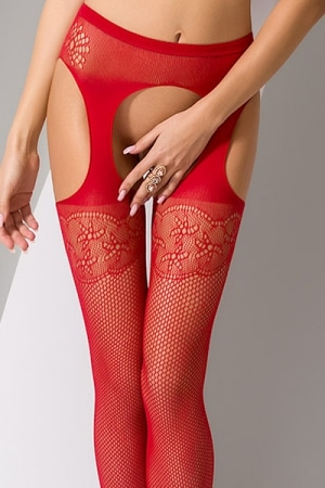 Collants ouverts S005 - Rouge-4