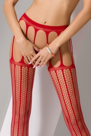 Collants ouverts S004 - Rouge-4