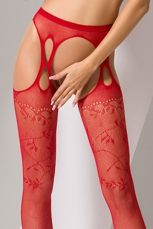 Collants ouverts S002 - Rouge-3