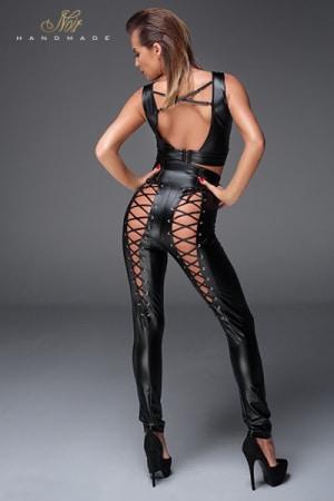 Pantalon taille haute avec laçage F148-4
