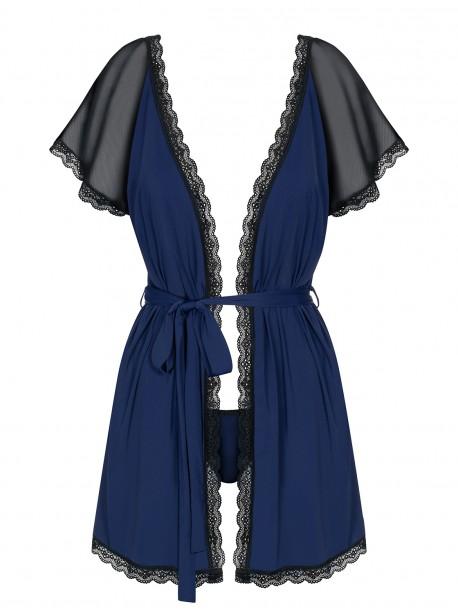Déshabillé et string navy blue Obsessive