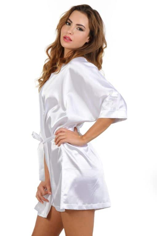 Peignoir manches courtes en satin blanc