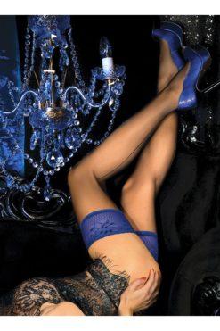 Bas couture auto-fixant jarretière bleu