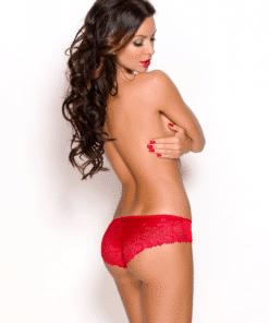 Culotte rouge en dentelle transparente