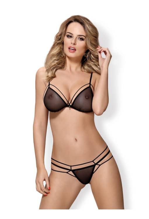 Ensemble de lingerie sexy noir OB-875