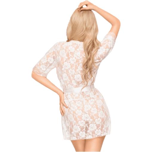 Peignoir satiné Sweet Lady Blanc-2